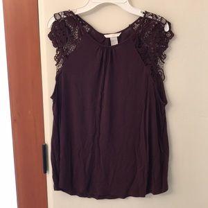 H&M Purple Laced Sleeve Tunic